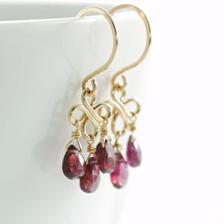 Garnet Gemstone Chandelier Earrings 14k Gold Fill, January Birthstone Handmade
