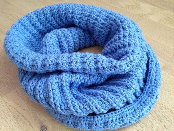Crochet infinity scarf/ Warm wool scarf/ Blue crochet scarf/ Neck Warmer man/ Boy crochet scarf/ Girl crochet scarf/ Neck warm wool crochet by ElenaVorobey on Etsy