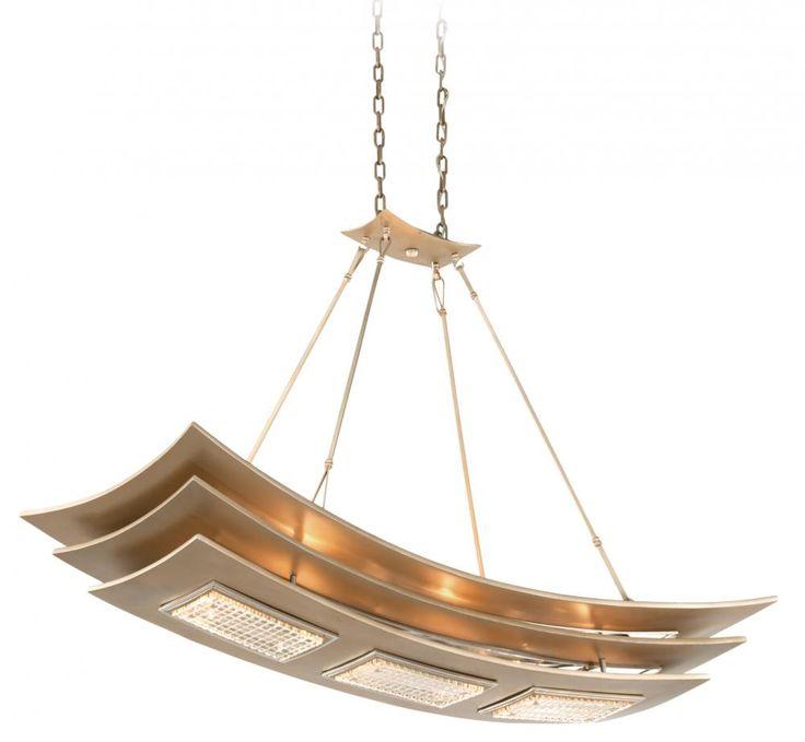 Six Light Tranquility Silver Leaf Island Light : 8KFH | Pego Lamps