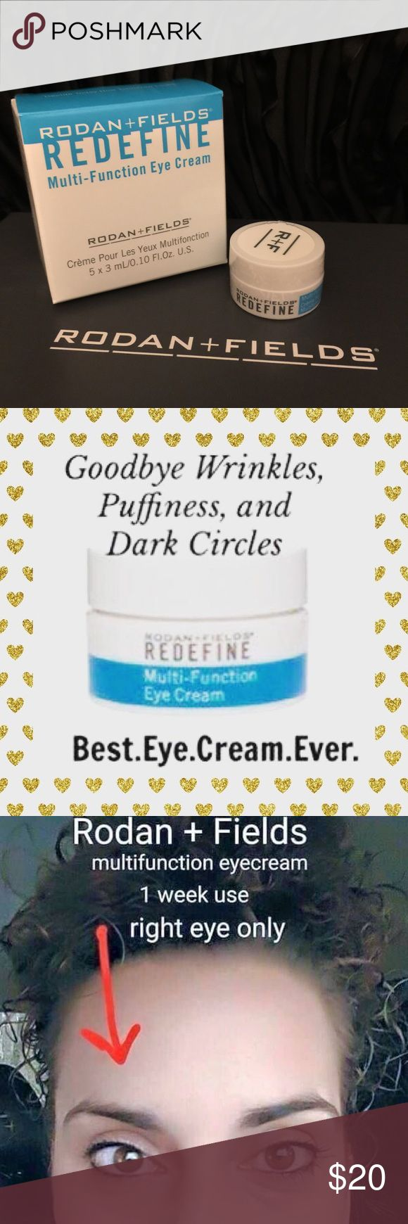 ✨Rodan+Fields MINI MultiFunction Eye Cream✨ This is for 1 of 10 MINIS that I have Tired of waking up to dark circles and puffiness under the eyes? Look on the bright side this winter and start using REDEFINE Multi-Function Eye Cream. It's packed with powerful anti-aging peptides to help minimize the appearance of crow's feet and puffiness, while brightening up the eye area  Rodan+Fields Makeup