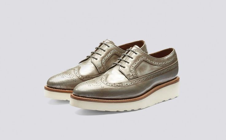 Agnes | Womens Brogue in Pewter York Leather with a White Wedge Sole | Grenson Shoes - Three Quarter View