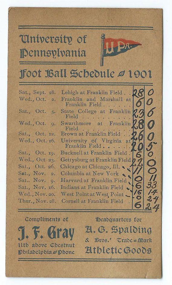 1901 University of Pennsylvania Football Pocket Schedule $150.00