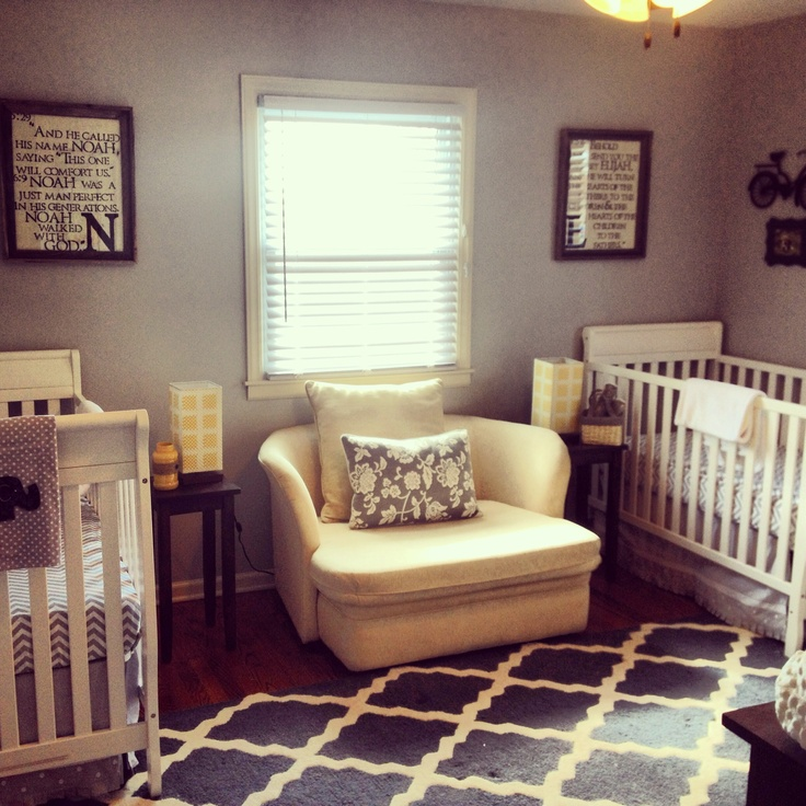 Simple twin boy nursery. Navy, Yellow and Gray. Love these colors!