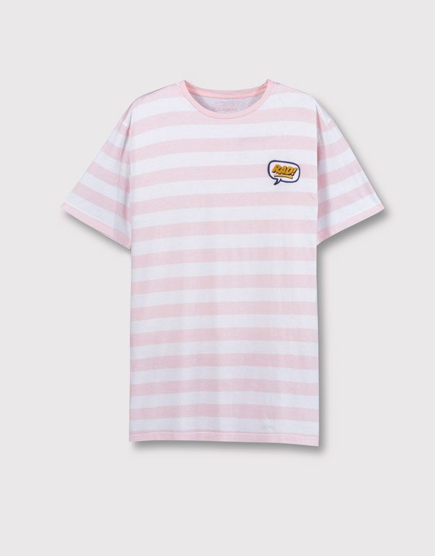 Pull&Bear - man - t-shirts - striped t-shirt with patch - rose pink…