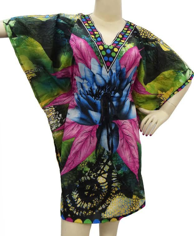 Floral mini Dress Kafthan Caftan FREE or PLUS SIZE Gift for her maternity summer dress- sleep wear robe Cafthan  hippie kafthan by colorfuloutlet on Etsy