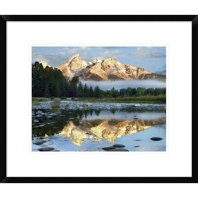 """Global Gallery Pond Reflecting Grand Tetons, Grand Teton National Park, Wyoming by Tim Fitzharris Framed Photographic Print Size: 18"""" H x 22"""" W x 1..."""