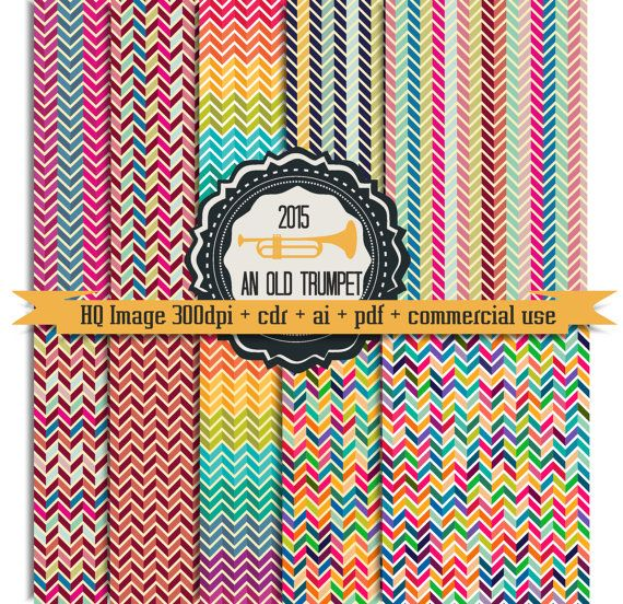 Chevron digital paper 06: zigzag waves pattern by AnOldTrumpet