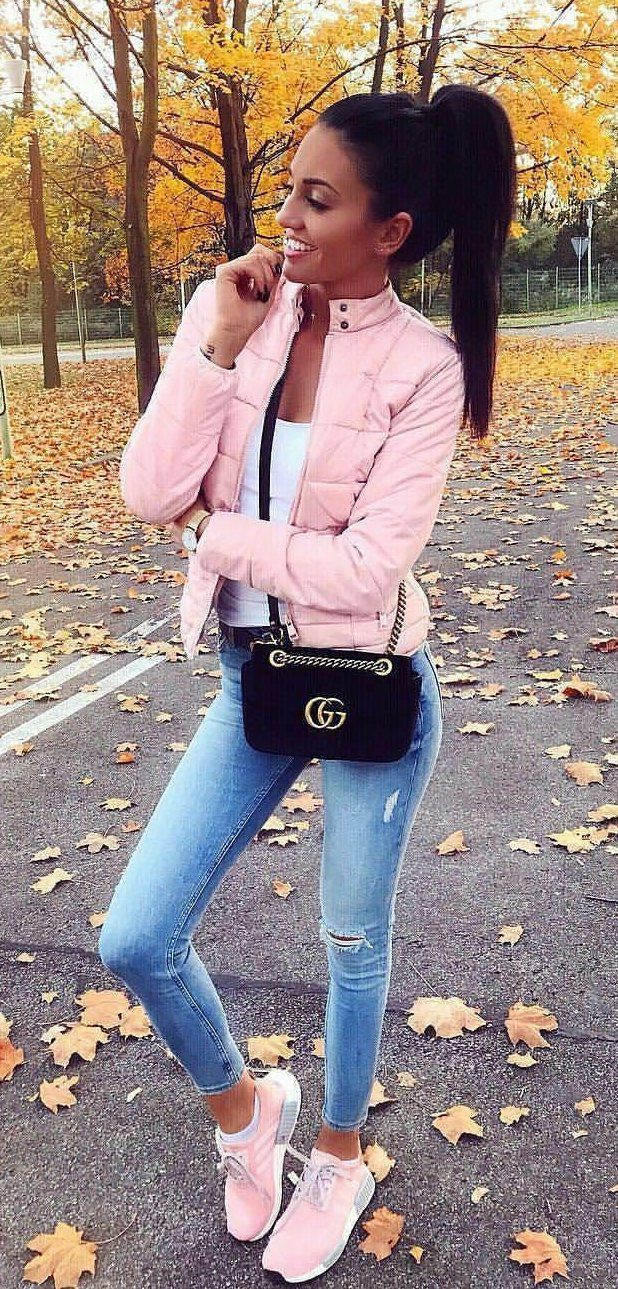 #fall #outfits women's pink zip-up bubble jacket