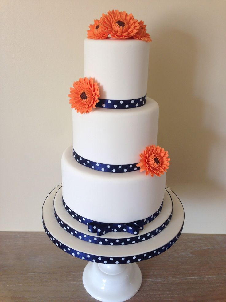 3 tier Navy and Orange wedding cake by Angel Cakes