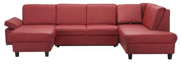 Mit dieser Wohnlandschaft von XORA schaffen Sie ein elegantes Ambiente in Ihren vier Wänden. Dank der exzellenten Verarbeitung aus echtem Rindleder besticht das Polstermöbel mit hervorragender Qualität. Das geschmackvolle Rot setzt einen stilvollen Akzent in Ihrem Wohnzimmer. Die Füße in klassischem Schwarz ergeben einen tollen Kontrast. Die bequeme Nosagunterfederung sowie die Schaumkernpolsterung machen das Sofa besonders gemütlich. Lesen Sie darauf ein gute