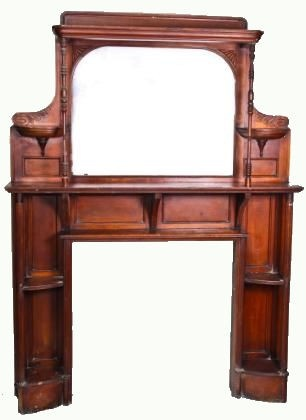 Urban Remains Chicago :: large solid cherry eastlake style fireplace mantel with original finish