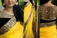 NEW LATEST YELLOW COLOR 60GM GEORGET EMBROIDERY WORK SAREE Bollywood Sarees Online on Shimply.com