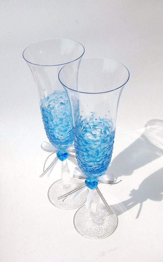 Wedding CHAMPAGNE GLASSES 2 Hand Painted Bohemian Glass  Valentines Engagement Gift Present Wedding Glassware Sky Blue Heart Flutes