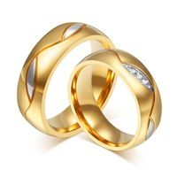 Vnox Jewelry Fashion Men and Women Wedding Rings 18K Gold Plated...