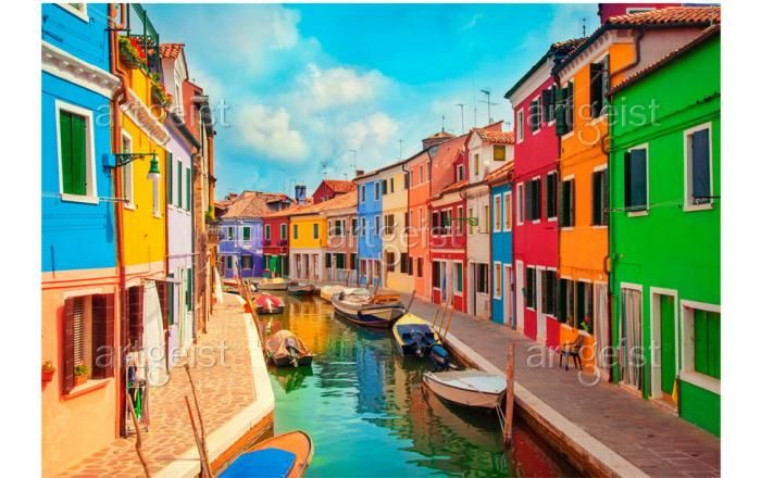 Fotomurale moderno Colorful Canal in Burano - Venezia - Citta' - Viaggi - Fotomurali