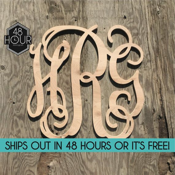 Sale Item Large 24 inch Wooden Monogram Letters by 48HourMonogram
