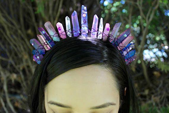 Dahlia Mermaid Crown Lavender Quartz Crystal Crown Unicorn