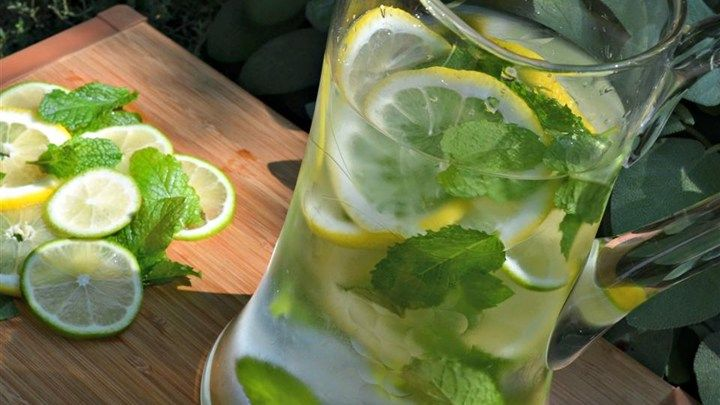 Mint and citrus-infused water, with or without cucumber, is a refreshing and elegant drink when you have company.