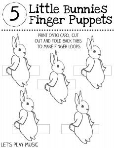 5 Little Bunnies Finger Puppets to Colour In