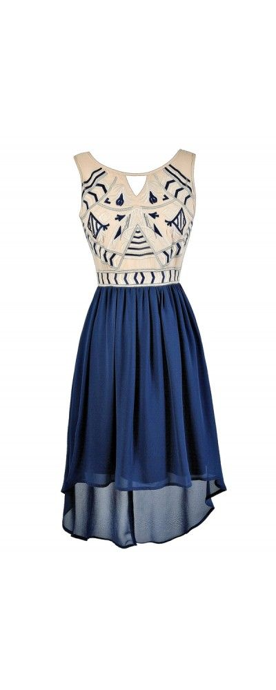 Dramatic Designs Embroidered High Low Dress in Blue  www.lilyboutique.com