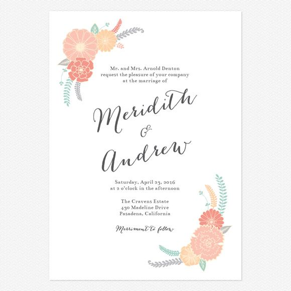 Sweet Bloom Wedding Invitations www.lovevsdesign.com