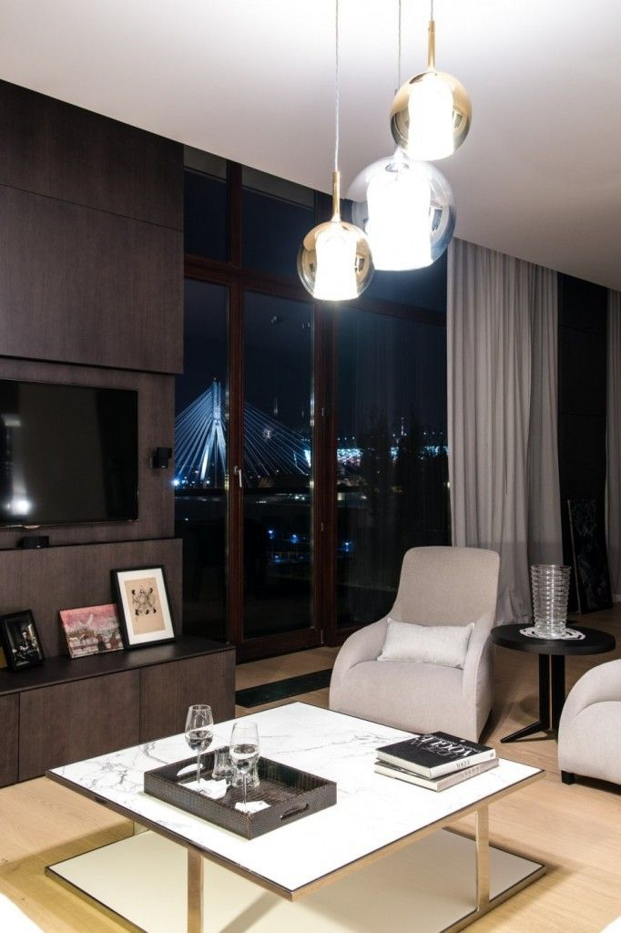 Apartment Warsaw centre luxurious white sofa couch lamp spacious timelessly modern