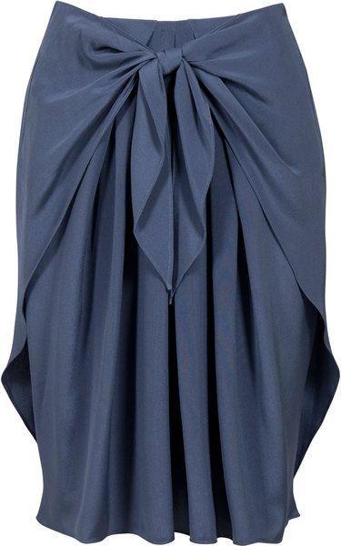 3.1 Phillip Lim | Blue Draped Tie Front Skirt - Draped Tie Front Skirt