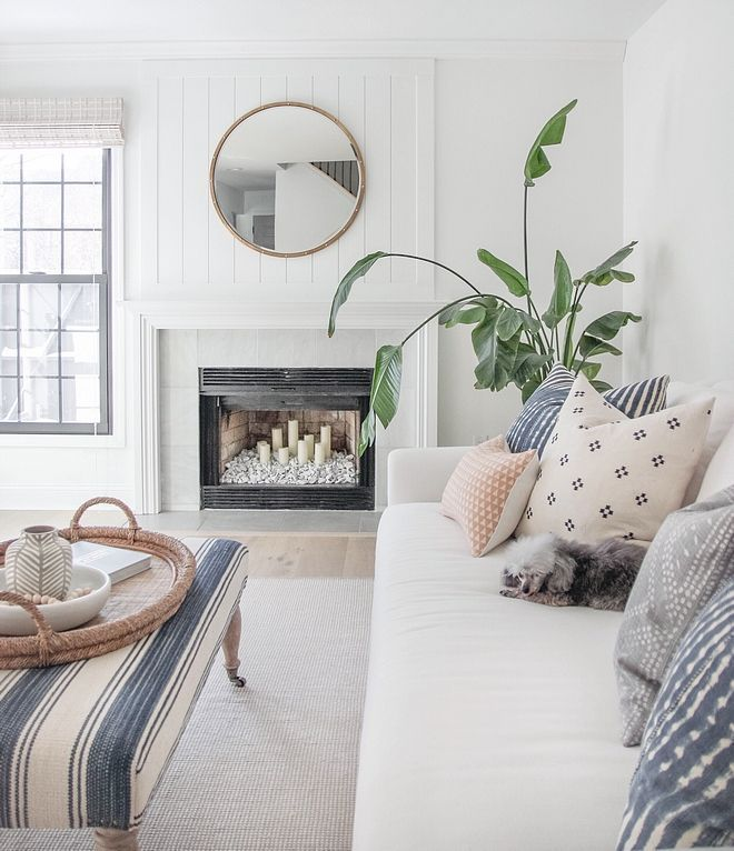 Neutral Living Room With Traditional Fireplace In 2019: Modern Meets Traditional Living Room Decor With Boho