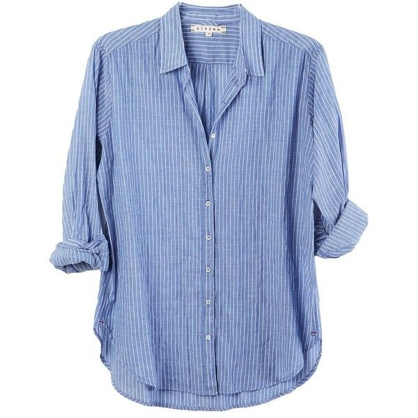 Beau Shirt Blue Skies ($215) ❤ liked on Polyvore featuring tops, long-sleeve shirt, cotton button down shirts, stripe shirt, striped long sleeve shirt and blue shirt