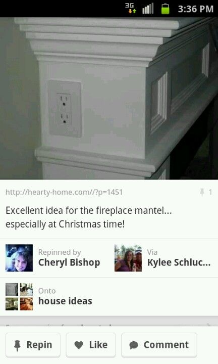 Fireplace ideas electric outlet on mantel