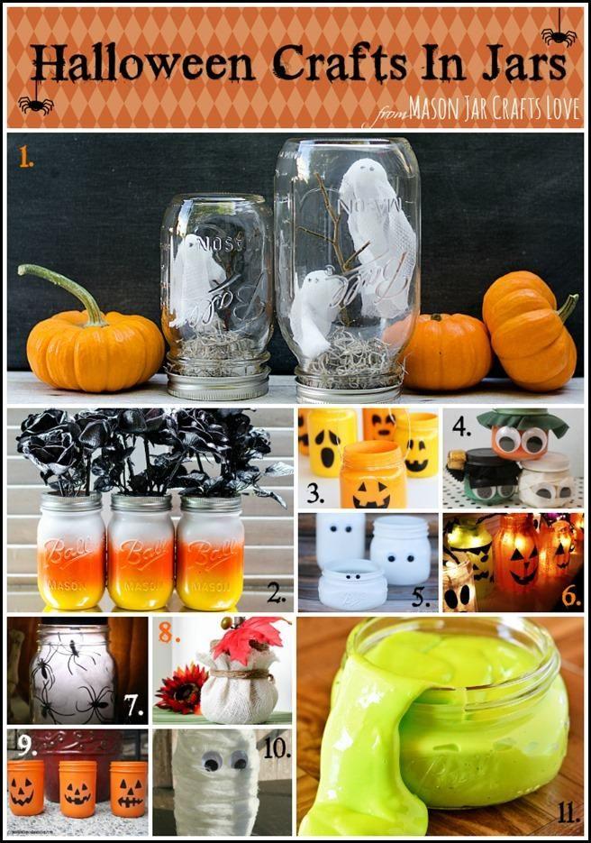 Halloween Mason Jar Craft Ideas - love the candy corn mason jars