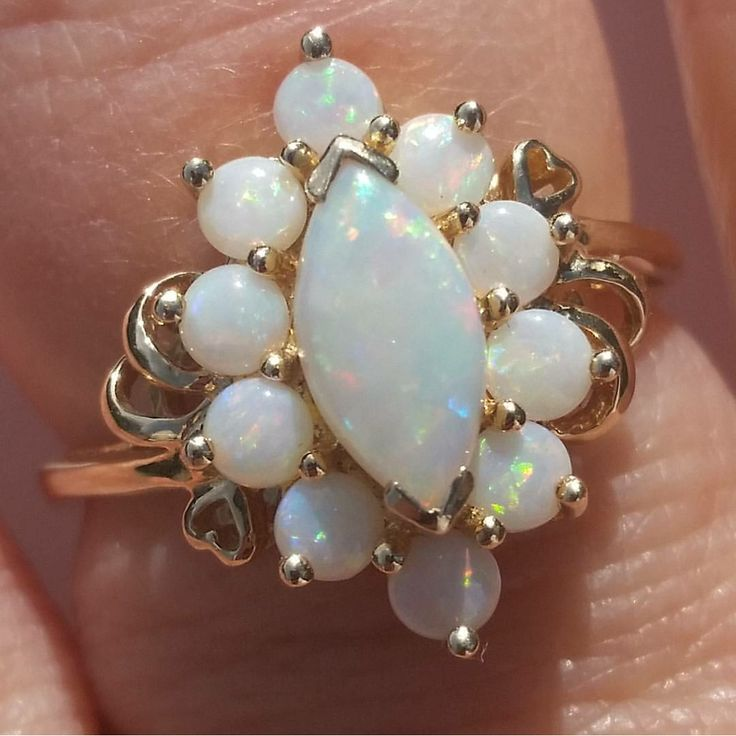 Vintage Opal 14K Gold Ring Hearts Size 9 from Suzy's TImeless Treasures on Ruby Lane