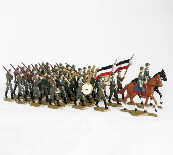 37 pcs Antique Tin Soldiers Lead Soldiers WWI Army by OldPrintLoft