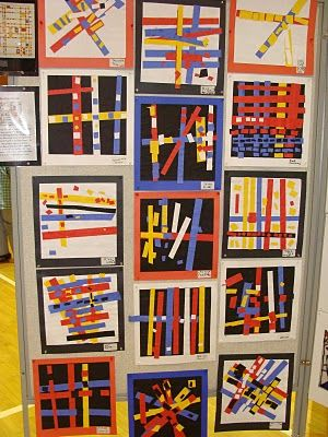 I feel a Piet Mondrian phase coming on. (This is inspiration not a link to how to). We made these by placing the colored paper on contact paper. Then when the design was complete we flipped the contact paper over and backed it with black cardstock. These were very successful.
