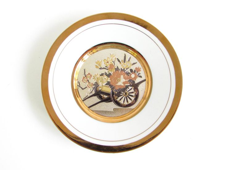 Vintage Chokin Plate, 24k gold Japanese, Wheelbarrow Chokin Art, Asian Decor, Collectible Plates by FoxLaneVintage on Etsy