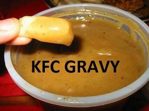 How To Make Your Own KFC Style Gravy: 4 tbsp. butter or shortening 5 tbsp. flour 1/4 tsp. sage – OPTIONAL 1/4 tsp. garlic powder 1/4 tsp. black pepper 1 beef boullion cube 1 chicken boullion cube 2 cups water 1/8 Tsp. Accent Flavor Enhancer