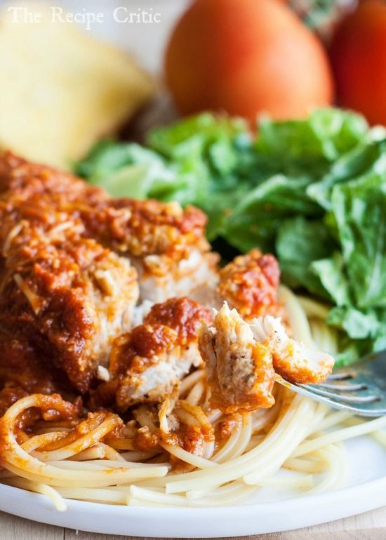 The Recipe Critic: Slow Cooker Chicken Parmesan NOTE: this was so tender! I would cook for maybe 6hrs on low though, not 7. It kinda burnt the cheese :-( still super rich n tasty though!