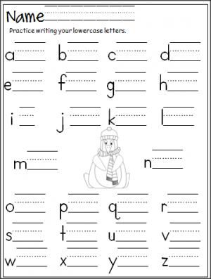 Free penguin lowercase letter writing activity. Great for winter.