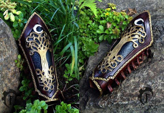 Brassards de Elf, forêt, elfique, larp, larping, costume, fantasy, médiéval, lotr, de cuir