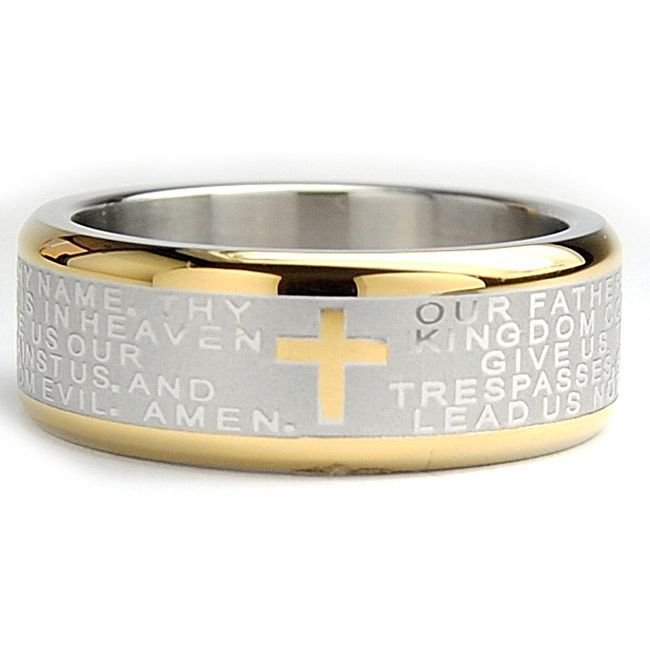 Oliveti Goldplated Stainless Steel Lord's Prayer Ring (8 mm) (Size 11.5), Men's, White