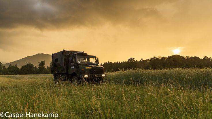 My u1300l in Germany #unimog #4x4 #sunset #mercedes #camper #armytruck