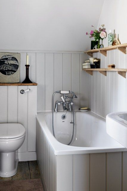Grey Tongue And Groove Panelling Cottage Bathroom DecorCountry DecoratingSmall