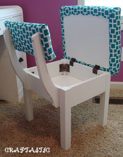 Dining chair with secret compartment. Great for small space living.