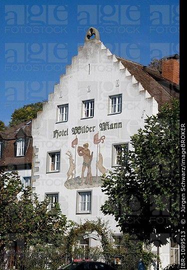 Wilder Mann Hotel, historic centre, Unterstadt, Meersburg, Baden-Wuerttemberg, Germany
