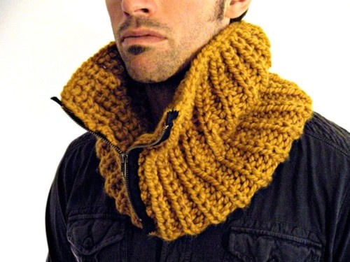 Chunky Man Cowl by KittyDune, this would be simple to make and the idea of adding a zipper...cool..
