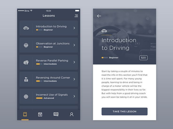 It's an app design for student of course institution. Built to serve student choose their course or lesson, see the schedules, and watch their course progress. Made with Sketch. Icons by icon8.