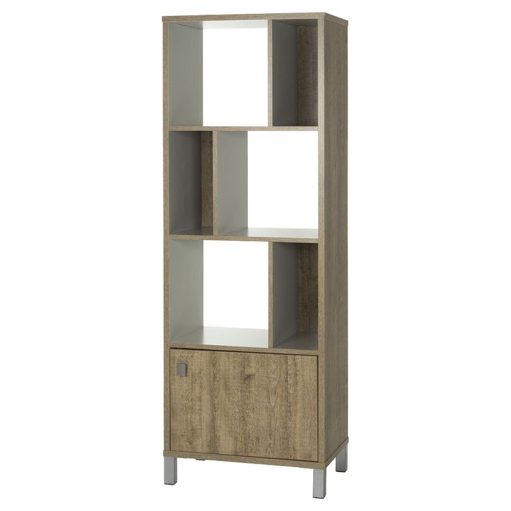 South Shore, Expoz 6 - Cube Shelving Unit with Door - Weathered Oak and Soft Gray