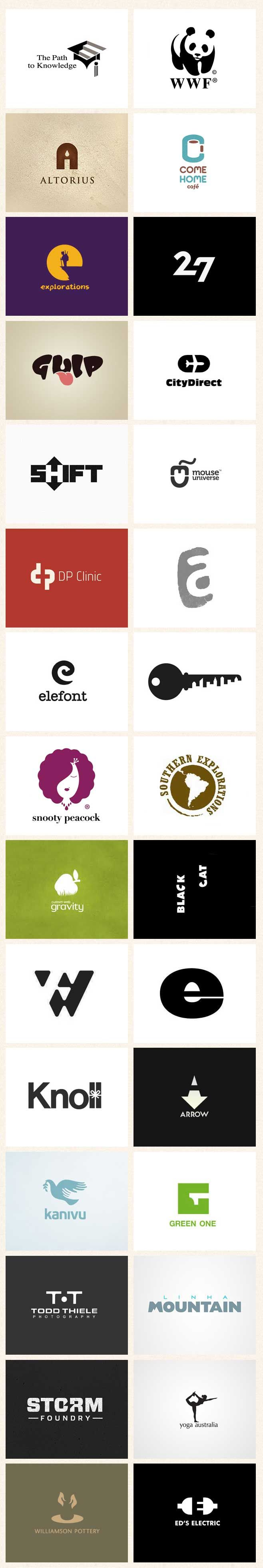Negative Space Logo Designs  All of these logo designed utilize speciality because there is prominent negative and positive space.
