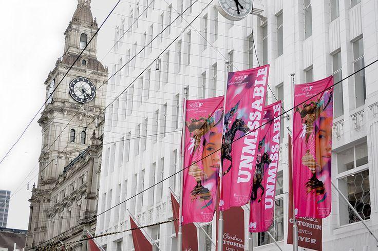 Melbourne Cup Carnival, promotional flag design, Bourke Street, Melbourne – Advertising Associates