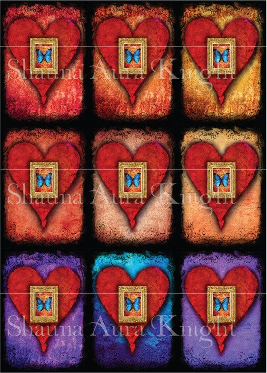Valentine Butterfly Hearts ATC 2.5 x 3.5 Inch by ShaunaAuraKnight